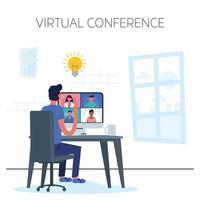 man met behulp van computer voor een virtuele telefonische vergadering