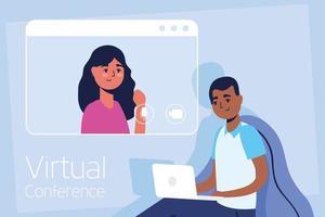 man op de laptop voor een virtuele telefonische vergadering