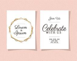 twee huwelijksuitnodigingen met gouden ornamentlijsten