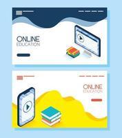 banner voor online onderwijs en e-learning vector