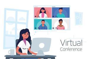 vrouw op de computer voor een virtuele telefonische vergadering