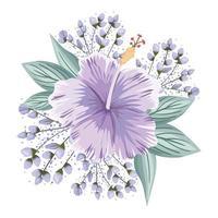 paarse hawaiiaanse bloem met knoppen en bladeren schilderen