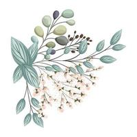 witte knoppen bloemen met bladeren boeket schilderen vector