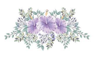 paarse hawaiiaanse bloemen met knoppen en bladeren schilderen
