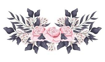 roze rozen bloemen met toppen en bladeren schilderen vector