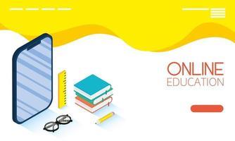 banner voor online onderwijs en e-learning met smartphone vector