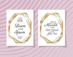 twee huwelijksuitnodigingen met gouden lijsten