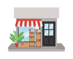winkel met tent en groenten in dozen vector