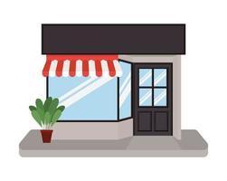 winkel met tent en plant in pot