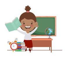 student meisje met schoolbenodigdheden in de klas