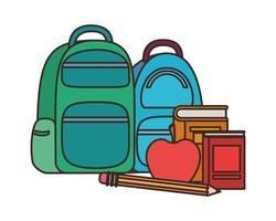 school handtas met notebooks op witte achtergrond
