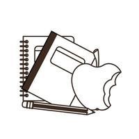 schoolboeken met fruit appelpictogram