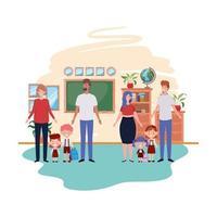 groep ouders met kinderen avatar karakter vector