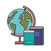 stapel boeken met globe op witte achtergrond