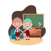 studenten met schoolspullen in de klas