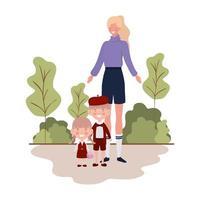 vrouw met kinderen van terug naar school vector