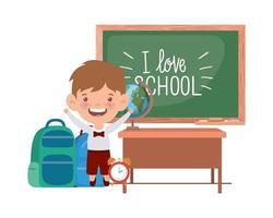 student jongen met schoolspullen in de klas