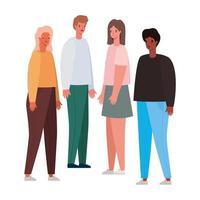 vrouwen en mannen avatars tekenfilms ontwerp