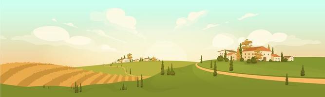 herfst in dorp op een heuvel