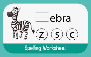 zoek ontbrekende letter met zebra