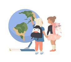 voorschoolse meisjes in planetarium
