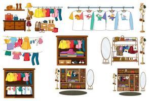 set van kleding, accessoires en garderobe geïsoleerd op een witte achtergrond