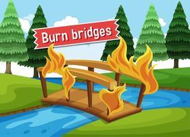 idioom poster met brandende bruggen vector