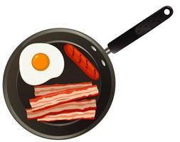 luchtfoto van voedsel op pan vector