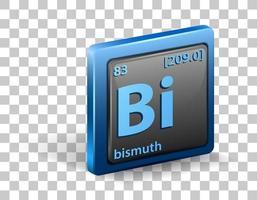 bismut scheikundig element. chemisch symbool met atoomnummer en atoommassa.