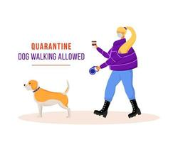 vrouw wandelende hond tijdens quarantaine vector