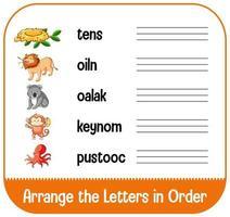 rangschik de letters op volgorde met afbeeldingen vector