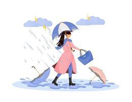 zware regenval karakter vector