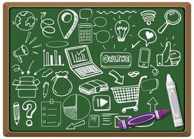 hand getekend sociaal element op schoolbord