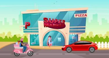 supermarktingang in de stad