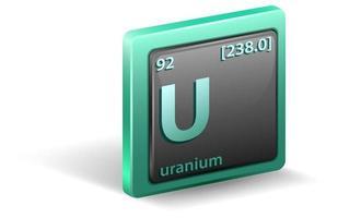 uranium scheikundig element. chemisch symbool met atoomnummer en atoommassa.
