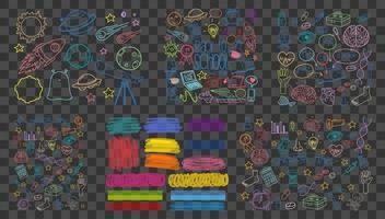 set van kleurrijke object en symbool hand getrokken doodle op transparante achtergrond vector