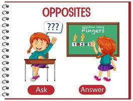 tegengestelde woorden met vragen en antwoorden vector