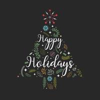 fijne feestdagen hand getrokken belettering met boomdecoratie vector