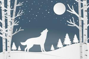 papier kunst wolf in bos winters tafereel