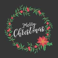 kerst belettering ontwerp met krans decoratie