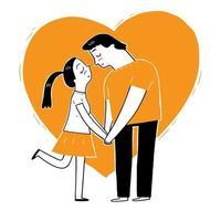 een paar drukt hand in hand hun liefde uit