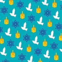 dreidel, duif en joods sterpatroon op blauw