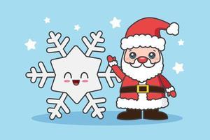 kawaii kerstkaart met santa en sneeuwvlok vector