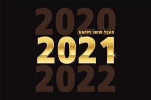 gelukkig nieuwjaar, gouden metalen cijfers op zwart vector