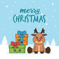 kerstkaart met herten en cadeautjes in de sneeuw