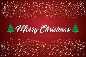 vrolijk kerstfeest en gouden confetti achtergrond vector