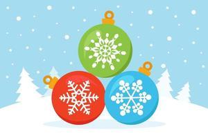kerstballen in winters tafereel