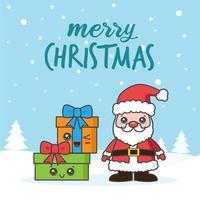 kerstkaart met santa en geschenken in de sneeuw