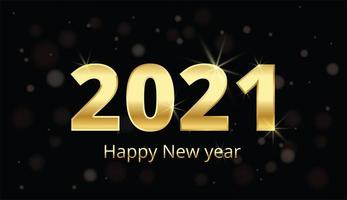 gelukkig nieuwjaar gouden metalen cijfers op zwart vector