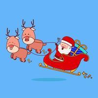 schattige kerstman rijden slee met grote cadeau cartoon